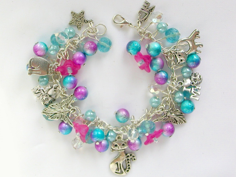 Cat and Angel Blue Purple Pink Bell Flower Charm Bracelet