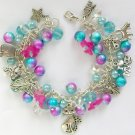 Cat and Angel Blue Purple Pink Bell Flower Charm Bracelet