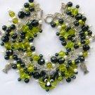 Cat Peridot Green Lampwork Glass Bead and Fish Charm Bracelet