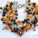 Cat Orange Lampwork Glass Bead and Fish Crackle Charm Bracelet