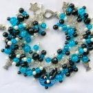Cat Aqua Blue Lampwork Glass and Fish Crackle Bead Charm Bracelet