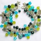 Cat Aqua Blue Peridot Green Black Iridescent Charm Bracelet