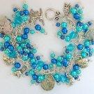 Dog Lover Aqua Blue Faux Pearl Bead Charm Cha Cha Bracelet