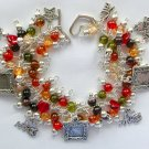 Love My Cat Red Brown Olive Picture Frame Charm Bracelet