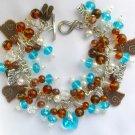 Brass Tabby Cat Heart Aqua Crystal and Brown Charm Bracelet