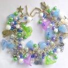 Cat and Flower Pastel Light Blue Purple Green Charm Bracelet