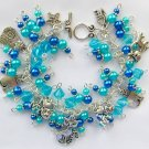 Cat Lover Aqua Blue Glass Pearl Bead Charm Bracelet