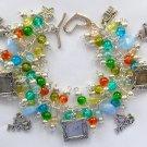 Cat Blue Heart Crackle Bead Picture Photo Frame Charm Bracelet
