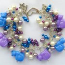 Cat Purple and Blue Pony Bead Faux Pearl Cha Cha Bracelet
