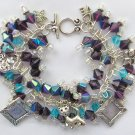 Cat Picture Frame Charm Purple Iridescent AB Glass Bead Bracelet