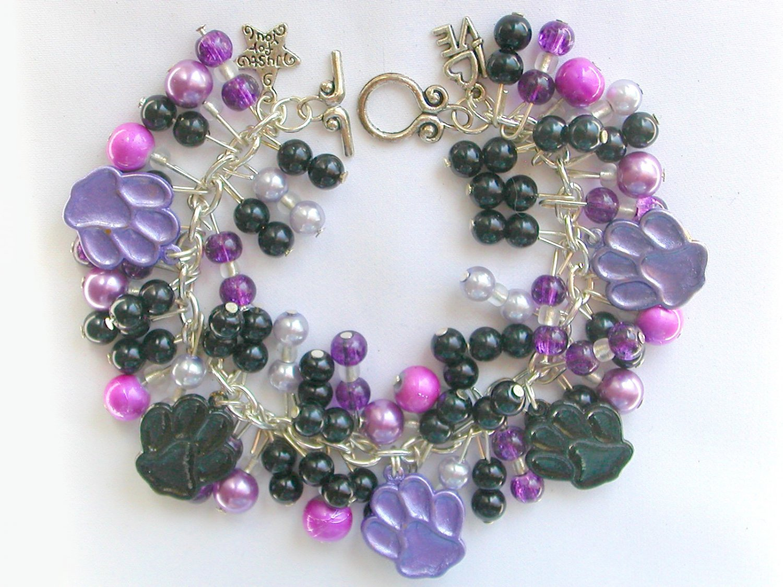Animal Lover Purple and Black Paw Print Charm Bracelet