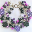 Animal Lover Purple and Black Paw Print Charm Bracelet