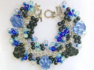 Paw Print Blue and Black Animal Lover Charm Bracelet Set