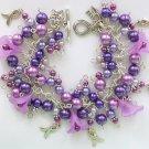 Ribbon Charm Purple Flower Faux Pearl Cha Cha Bracelet