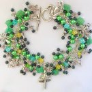 Fairy Mushroom Dragonfly Green and Black Cha Cha Charm Bracelet