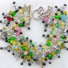 Fairy Mushroom Butterfly Yellow Green Multi Color Charm Bracelet