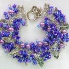 Angel Fairy & Leaf Dark Purple Flower Rose Charm Bracelet