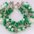 Angel Fairy Leaf Charm Green Rose Flower Cha Cha Bracelet