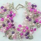 Cupid Cherub Heart Pink Purple Bead Charm Bracelet
