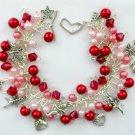 Cupid Cherub Heart Love Charm Red Bead Bracelet