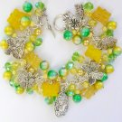 Cameo Czech Butterfly and Dragonfly Yellow Green Charm Bracelet