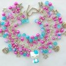 Hello Kitty Cat Aqua Blue Fuchsia Pink Star Charm Bracelet