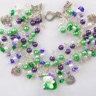 Hello Kitty Cat on a Leaf Purple Green Bead Charm Bracelet