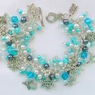 Angel Snowflake Ice Aqua Blue Bead Charm Bracelet