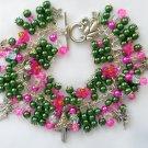 Fairy Mushroom Pink Bell Flower Green Bead Charm Bracelet