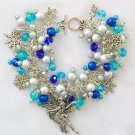 Fairy Snowflake Aqua and Blue Bead Silver Charm Bracelet