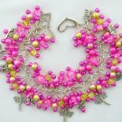 Dragonfly Fuchsia Pink Yellow Crackle Bead Charm Bracelet