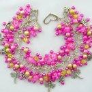 Dragonfly Fuchsia Pink Yellow Crackle Bead Charm Bracelet