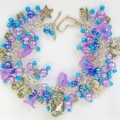 Cameo Butterfly Dragonfly Purple Blue Iridescent Charm Bracelet