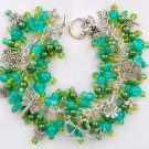 Garden Butterfly Dragonfly Teal Green Crackle Bead Charm Bracelet