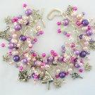Fairy Mushroom Butterfly Pink Purple Fuchsia Bead Charm Bracelet