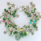 Cameo Flower Butterfly Dragonfly Green Charm Bracelet