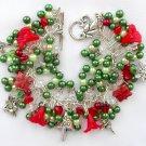 Fairy Mushroom Flower Czech Butterfly Green Red Charm Bracelet