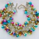 Carnival Flower Rainbow Aqua Pink Gold AB Glass Bead Bracelet