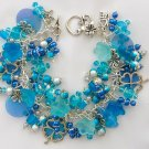Four Leaf Clover Czech Glass Flower Aqua Blue Charm Bracelet