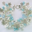 Snowflake and Stars Light Ice Blue Frozen Charm Bracelet
