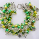 Four Leaf Clover Lucky Green and Yellow Charm Bracelet