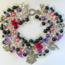 Fairy and Bell Flower Purple Pink Black Bead Charm Bracelet