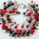 Ladybug Luck Czech Butterfly Red Black Cha Cha Charm Bracelet
