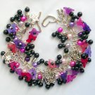 Flower Purple Fuchsia Pink Ladybug Butterfly Black Charm Bracelet