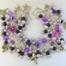 Fairy Bell Flower Mushroom Purple Black Charm Bracelet