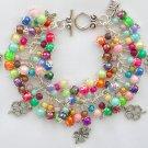 Four Leaf Clover Shamrock Rainbow Bead Cha Cha Charm Bracelet