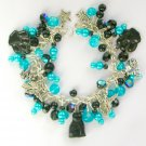 Black Cat Angel Paw Print Aqua Blue Cha Cha Charm Bracelet