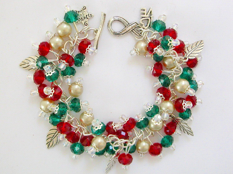 Christmas Crystal Red Green Bead Leaf Charm Bracelet