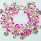 Hello Kitty Cat Star Pink Charm Pearl Bead Cha Cha Bracelet