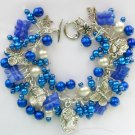 Cameo Czech Butterfly and Dragonfly Royal Blue Charm Bracelet